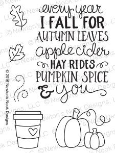 Celebrate all things Fall with this sweet little 3 x 4 mini stamp set! This little set is packed with all our favorite Fall things! It features a lovely Fall sentiment and images of coffee, pumpkins,