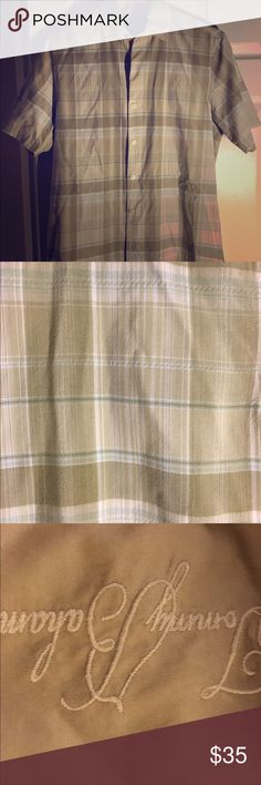 Men's short-sleeved shirt Tommy Bahama shirt-sleeved Summer shirt. Olive and cream colors. Tommy Bahama Tops Button Down Shirts