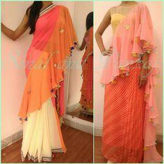 Saree or 1 piece floorlength.... What u choose !!!??? Saree Draping Styles, Drape Sarees, Saree Styles, Half Saree Lehenga, Saree Blouse, Stylish Blouse Design, Pakistani Wedding Dresses, Indian Dresses, Bridal Silk Saree