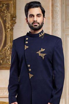 Buy Indigo Metal Embroidered Italian Indo Western Sherwani Online Indian Men Fashion, Mens Fashion Suits, Mens Suits, Mens Double Breasted Blazer, Wedding Sherwani, Designer Suits For Men, Indian Man, Indigo, Menswear