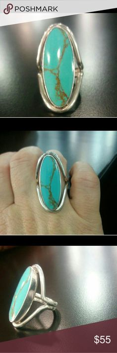 Sterling signed turquoise ring large Beautiful ring size 6, stamped 925 and signed. Jewelry Rings