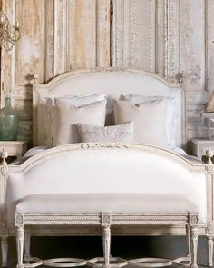 Luxe French Shabby Chic Industrial Style Décor: Eloquence Collection 'Dauphine' Bed in 'Weathered White' | The Bella Cottage