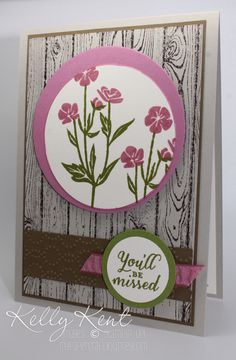 handmade retirement card ... Wild About Flowers ... stamped woodgrain background ...  mat placed asymmetrically on circle focal point ... by Kelly Kent on her blog mypapercraftjourney.com.