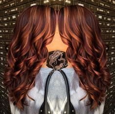 long marsala hair with caramel highlights