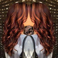 long marsala hair with caramel highlights