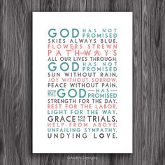 God has promised. Hymn. Printable Design. 11x14 by AmenPrintables, $6.50
