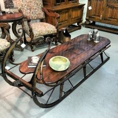 beautiful antique sled into coffee table