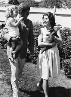 """Potentially the cutest photo ever. This was their last weekend together at Hyannis Port before he set of on the """"final leg"""" of his presidential campaign in August 1960, so according to the date she was well advanced into her pregnancy with baby John. You can see her baby bump in this photo :)"""