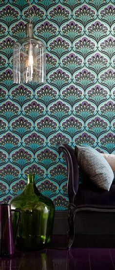 Art Nouveau Wallpaper depicting peacock feathers. Art Nouveau used images of natural surroundings such as flowers, roots, buds, seeds, thistles and peacock feathers in their wallpapers and furniture.