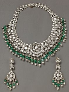 Victorian style Emerald Hanging Necklace from Bhuramal Rajmal Surana Jaipur