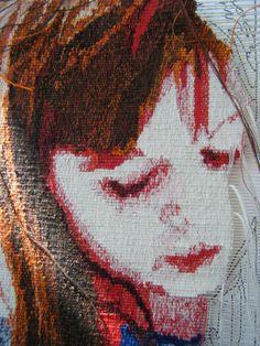 Emma Jo Webster  In Progress portrait that was woven on its side