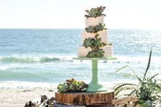 Beach wedding cake inspiration from Bramble Bakeshop