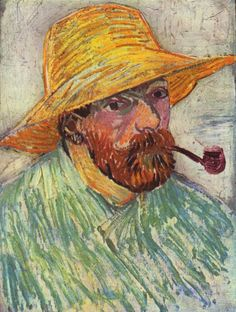 Vincent van Gogh: Self Portrait with Pipe and Staw Hat.  Oil on canvas on cardboard.  Arles:  August, 1888.  Amsterdam: Van Gogh Museum.