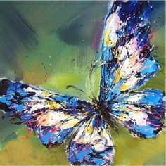 "H024 NO Frame /20*20""Hand-painted Abstract Oil Painting Colourful Butterfly #ArtDeco"