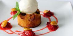 Warm plum clafoutis with crème fraiche sorbet Clafoutis Recipes, Just Desserts, Dessert Recipes, French Desserts, Dessert Food, Plum Recipes, Great British Chefs, Macaron, Plated Desserts