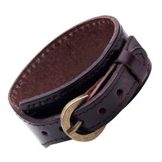 Men's Mahogany Brown Leather Cuff Bracelet with Golden Metal Buckle - Adjustable - Casual Surfer Style