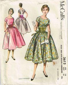 Vintage 1950s Bouffant Party Dress McCalls 3612 Sewing Pattern by PeoplePackages