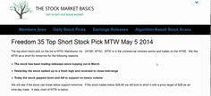 Freedom 35 Top Short Stock Pick MTW May 5 2014