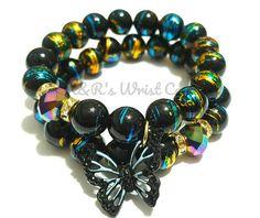 Black Butterfly Beaded Bracelet Set Stretchy Bling