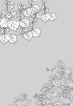 Japanese line drawing of plant material -6 Flower Vector (To