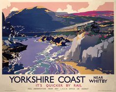 Vintage British Yorkshire Coast Whitby LNER British Railway Travel Retro Poster Re-Print - x x Posters Uk, Train Posters, Railway Posters, Poster Prints, Retro Posters, Art Prints, Charles Trenet, British Travel, National Railway Museum
