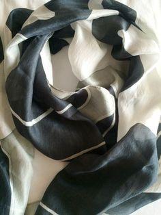Black & Gray Camouflage Narrow Thai Silk Scarf
