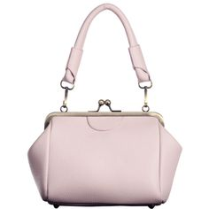 Kiss Lock Metal Trimmed Handbag Pink (785 DOP) ❤ liked on Polyvore featuring bags, handbags, clutches, man bag, kiss clasp handbags, pink handbags, kisslock purse and kiss lock purse