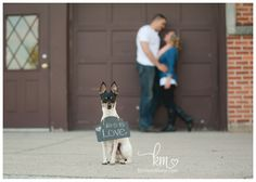 Save the Date with dog and chalk board