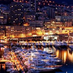 """Monte Carlo, Monaco -- what, no helicopters on any of those yachts? Must have been the """"poor man's night out"""" in Monte Carlo. Places Around The World, Oh The Places You'll Go, Travel Around The World, Places To Travel, Places To Visit, Around The Worlds, Dream Vacations, Vacation Spots, Wonderful Places"""