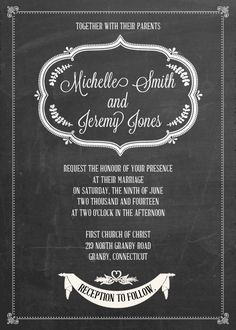 FREE PDF Download - Chalkboard II Wedding Invitation. Easy to edit and print. For customizations: printableinvitationkits[at]gmail[dot]com