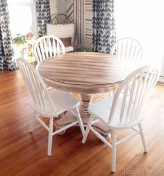 Looking for a way to freshen up that old table? Check out this awesome faux planked table transformation! Full tutorial for using white paint and stain. Painting Laminate Table, Laminate Furniture, Dining Furniture, Furniture Decor, Painted Furniture, Furniture Projects, Wood Projects, Stripping Furniture, Plank Table