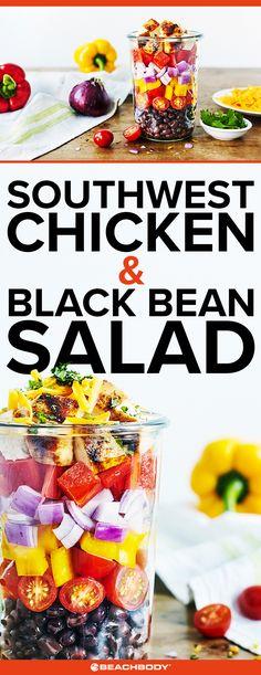 Southwest Chicken and Black Bean Salad Recipe, mason jar salad, salad recipe