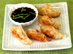 healthy chicken pot stickers w/ minted soy sauce
