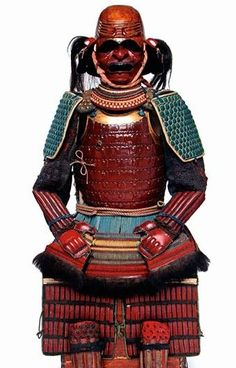 Momoyama period Gusoku. Kawari kabuto in the shape of a head of a balding man with crisply embossed wrinkles on the forehead. Published: 'Arms and Armor of the Samurai: The History of Weaponry in Ancient Japan' [Ian Bottomley] -Arashiyama Museum Collection, Kyoto-