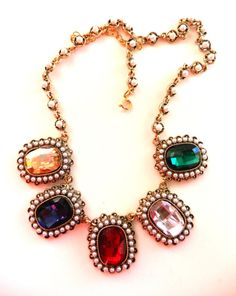 Vibrant Collier 1970  large cabochons & small by RAKcreations, $78.00