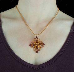 Celtic pendant. Handmade tatting lace necklace. Autumn