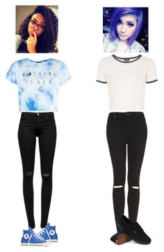 """Girls Day out"" by quonton ❤ liked on Polyvore featuring J Brand, Topshop, Converse and Vans"
