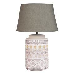 White Ceramic Lamp with Ikat Print ...
