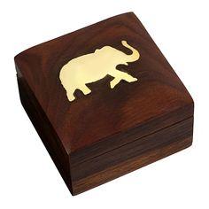 Indischer Elefanten-Schmuckbehälter - Kleines Holzkästchen 7,6 x 7,6 x 5 cm - Schmuckkästchen für Halsketten: Amazon.de: Schmuck ENTZÜCKENDES DESIGN Elefanten-Schmuckkästchen aus edelstem indischem Rosenholz mit eingelegtem Messingelefanten