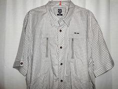 CAVI Shirt Men Size 3XL Button Up 100% Cotton Tan Check Short Sleeve EUC #Cavi #ButtonFront
