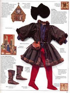 Great collage of 14th Century men's garb. Going over all the details. This is a great tool when making garb and looking at holes in your current wardrobe.
