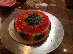 Tie-Dye Rainbow Cake with Skittles