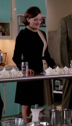 Mad Men Peggy Olson Black Dress with Vertical Striping