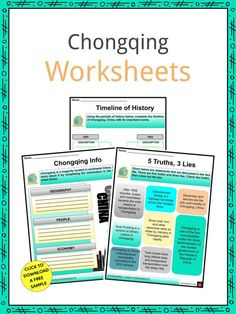 This is a fantastic bundle which includes everything you need to know about the Chongqing across 20 in-depth pages. These are ready-to-use Chongqing worksheets that are perfect for teaching students about the Chongqing, alternatively spelled Chungking, which is a megacity and provincial-level municipality in southwest China. It is one of the four municipalities under the direct administration of the central government of the People's Republic of China. Geography Worksheets, Social Studies Worksheets, China Facts, Curriculum, Homeschool, Central Government, Hills And Valleys, Chongqing, Months In A Year