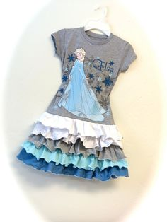 Frozen Disney size 2/3T ruffled sparkly upcycled by SoSoHippo, $62.00