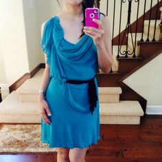 SALEYA LA emerald Soft chiffon belted Dress CLEARANCE sale. Cowl neck. Self tie belt. Side zipper. New w tag. Comes in size S, M, and L. Selling this at cost. Great quality dress by Ya Los Angeles. Ya Los Angeles Dresses