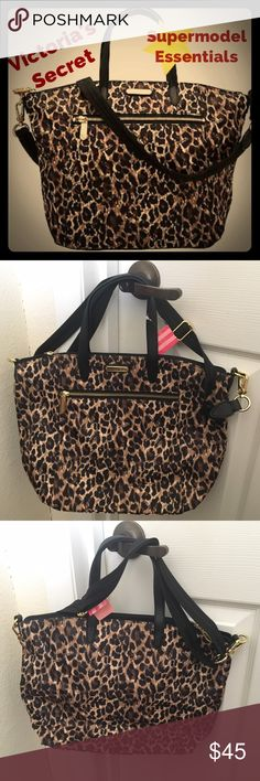 "VS Nylon Leopard Print Tote Supermodel Essentials❣ Victoria's Secret Supermodel Essentials Large Nylon Tote/Purse/Handbag/Shoulder Bag, Leopard Print. Features a Tote handle and Comes With Adjustable/Removable Should Strap. OFFERS WELCOME!  - Leopard Print, Nylon - 15x12x5"" - very roomy! - Features Outside And Inside Zipper Pocket - NEW with TAGS Victoria's Secret Bags Shoulder Bags"