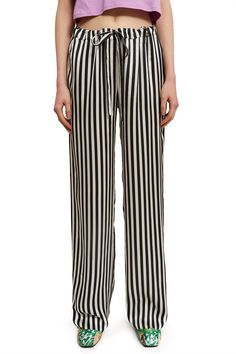 Marques'Almeida, Striped Pajama Trouser Marques'Almeida's classic pajama-inspired pants are made from luxurious silk and feature bold black and white stripes throughout., Elasticated drawstring waistband, Side pockets, Straight fit, 100% silk, Imported