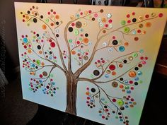 Sweet button tree canvas... I'm really liking the canvas art lately ...