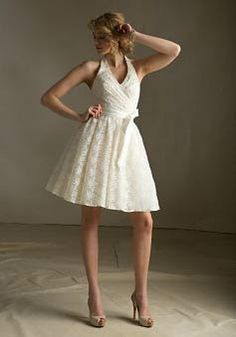 Halter Natural Waist Lace A line Short Bridesmaid Dress - Angeldress.co.uk